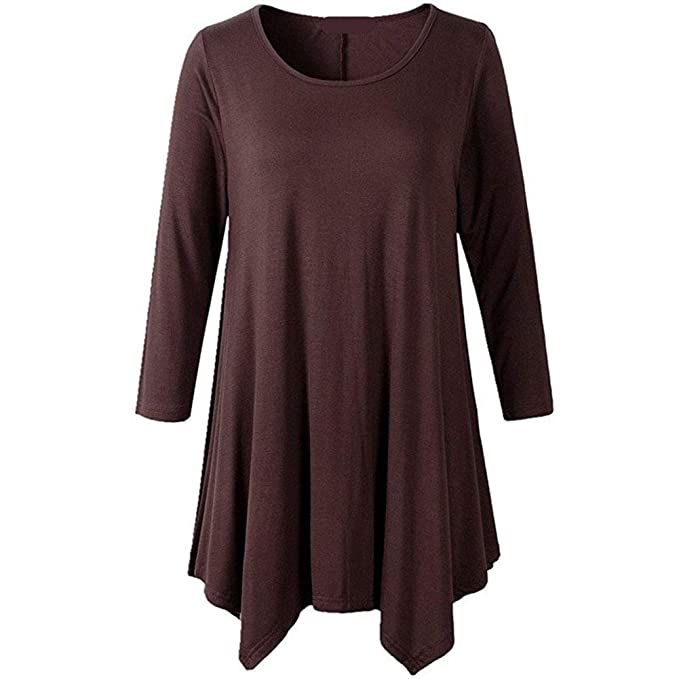 de641b53393a HAXICO Women's Plus Size 3/4 Sleeve Tunic Tops Loose Fit Flowy Basic Shirt  at Amazon Women's Clothing store: