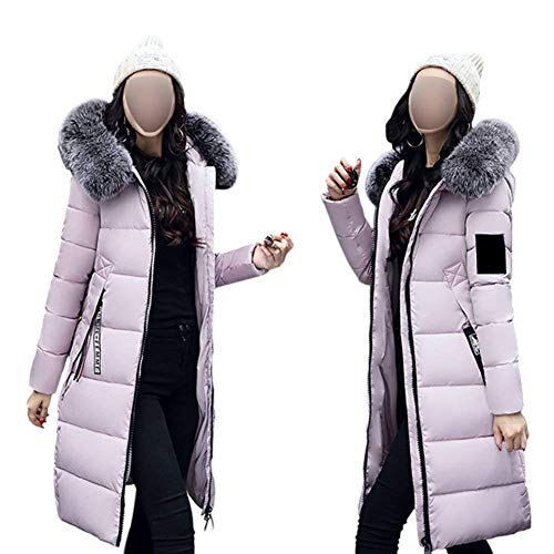 Mujer Acolchado Abrigo Casuales Largos Rosa Parka Invierno Modernas Capucha Elegantes Pluma Plumas Piel Cómodo Caliente Huixin con Largo Manga De Espesar fx4Fq1w55