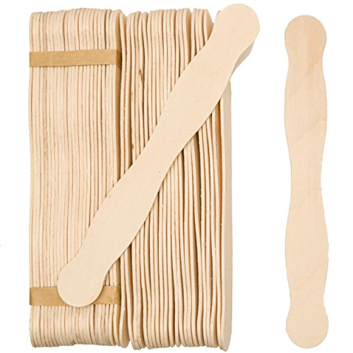 8 Inch Wooden Fan Handles, Bag of 100 Natural Wood Jumbo Wavy Fan Paddle Sticks, Wedding Program Fan Handles, Craft Sticks, Auction Paddle Sticks, Jumbo Wavy Popsicles by Woodpeckers