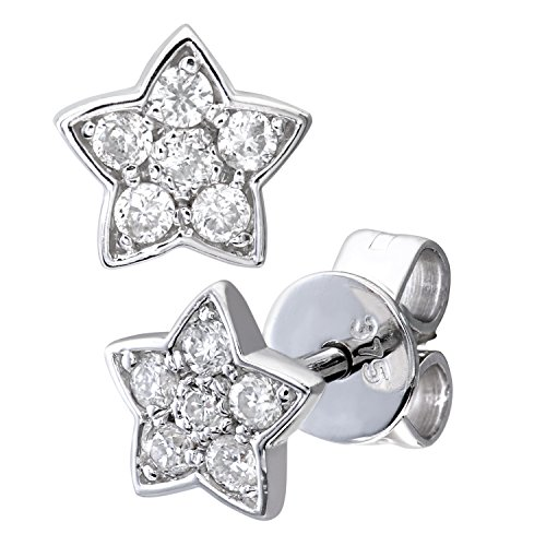 Revoni Bague en or blanc 9 carats - Diamant 0,15 ct Star boucles d'oreilles clous
