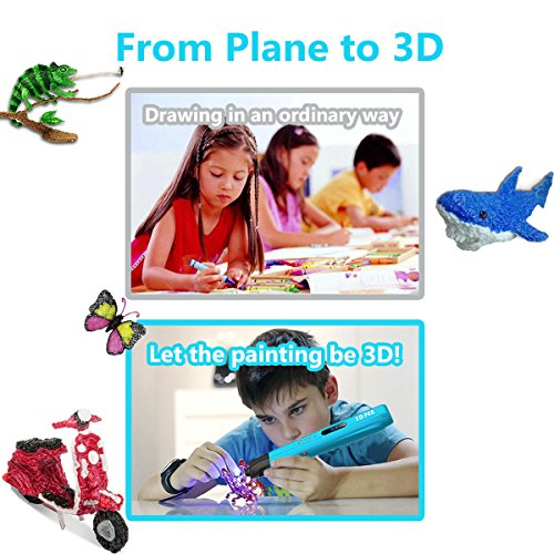3D Printing Pen for Kids,Todoxi 3D Drawing Doodle Pen with LED Display and Model Making Arts and Crafts, Including 6 Colors 2M PLA Filament Refills, Creative Christmas Gift for Kids/Adults by Todoxi (Image #3)