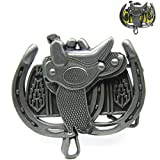 Cowboy Horse Saddle Double Horseshoes Belt Buckle Country & Western Rodeo Jeans