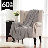 Knitted Throw Blanket for Sofa and Couch, Lightweight, Soft & Cozy Knit Throws - Light Grey, 50