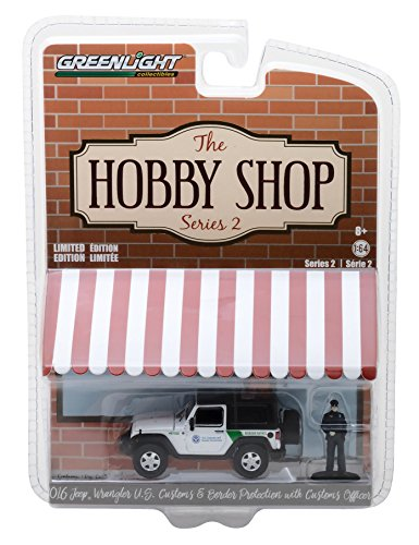 2016 Jeep Wrangler US Customs and Border Protection with Officer Figure The Hobby Shop Series 2 1/64 Diecast Model Car by Greenlight 97020 - Us Shop