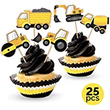 Construction Zone Party Cupcake Picks Cake Toppers - Truck Birthday Decorations Supplies - 25 pcs