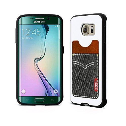 [Tridea] Anti-Shock Samsung Galaxy S6 Edge Pocket Guard Premium Leather Style [Pocket White] TPU Case for Samsung Galaxy S6 Edge (2015)