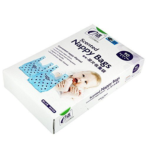 E-CLEAN Scented Nappy Disposal Trash Garbage Rubbish Bags For Baby/ Mummy, 90 Counts, 1.2 Gallon, Blue