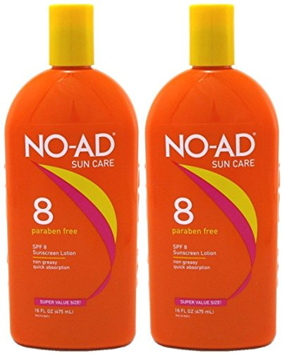 NO-AD Protective Tanning Lotion, SPF 8, 16 fl oz - 2pc