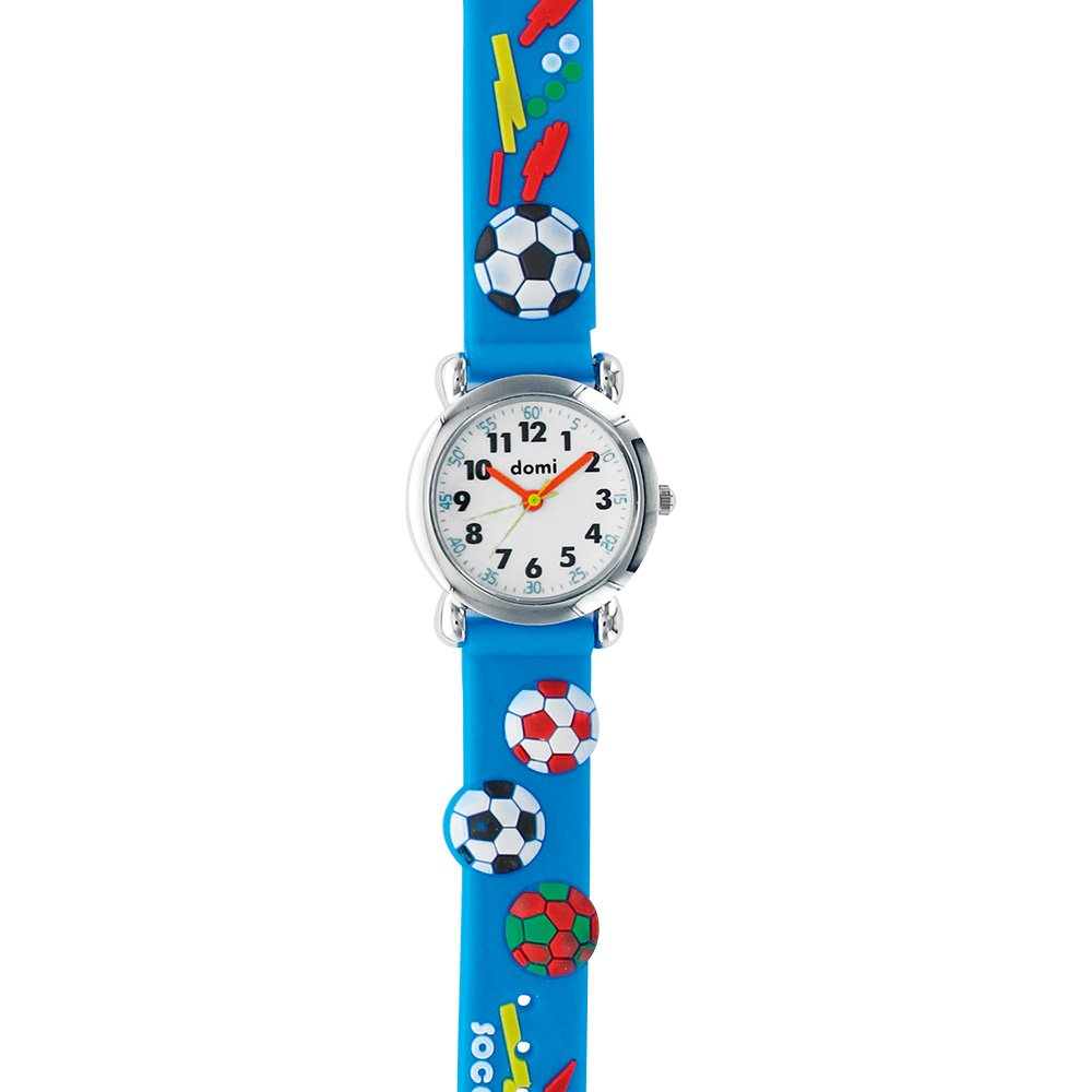 Jouailla - Reloj infantil fútbol azul cubierta Metal pulsera silicona Movimiento: Amazon.es: Relojes