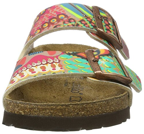 Papillio Dames Arizona Cuir Naturel Multicolore (framboise De Cire Dafrique) Mules