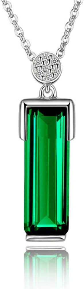 Collar de plata esterlina 925 de talla esmeralda simulada rusa nano esmeralda cortada 4.29ct para mujer-green-One size