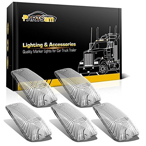 Partsam 5pcs Top Roof Light Cab Clearance Marker Clear Cover Lens Replacement For 1988-2002 Chevy GMC C/K1500 2500 3500 4500 5500 6500 7500 Kodiak Topkick Trucks