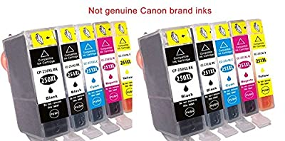 10 replacement Canon PIXMA MX922 ink toner cartridge for 2 each of Cannon PGI-250XL Black, CLI-251XL Black, CLI-251XL, CLI-251XL, CLI-251XL for MX-922 all-in-one multifunction inkjet Photo printer