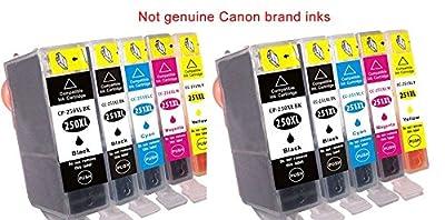 10 replacement Canon PIXMA MX922 ink toner cartridge for 2 each of Cannon PGI-250XL Black, CLI-251XL Black, CLI-251XL, CLI-251XL, CLI-251XL for MX-922 all-in-one multifunction inkjet Photo printer