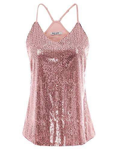 GRACE KARIN Womens Sparkle Shine Glitter Sequin Embellished Sleeveless Round Neck Tank Top Size L,Pink