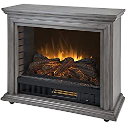 Pleasant Hearth Dark Weathered Sheridan Mobile Infrared Fireplace - Grey