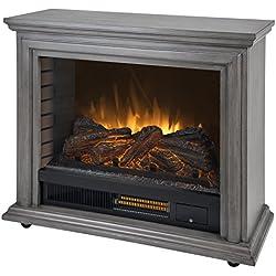 Pleasant Hearth Dark Weathered Sheridan Mobile Infrared Fireplace - Grey