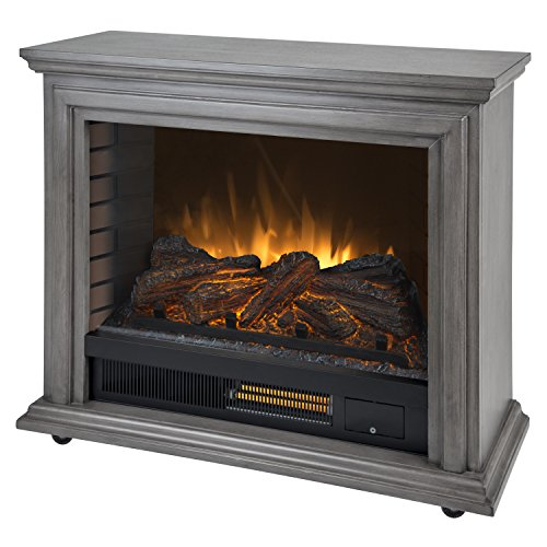Pleasant Hearth Sheridan Mobile Infrared Fireplace Grey, Dark Weathered Grey