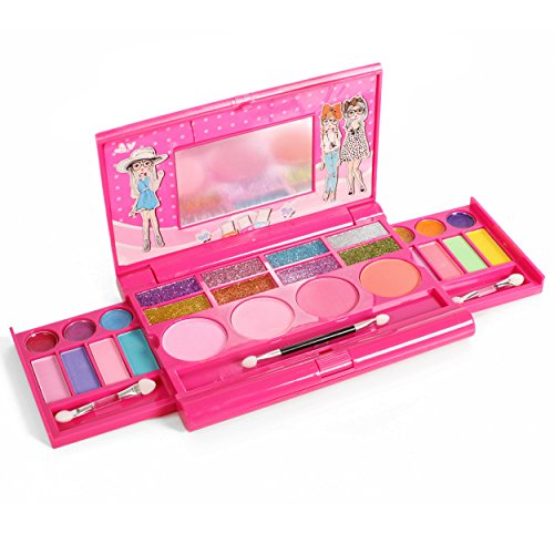 IQ Toys Princess Girl's All-in-One Deluxe Makeup Palette with Mirror -