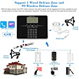 KKmoon Home Security Alarm Sytem 433MHz Wireless Auto-dial GSM SMS Alarm Security System LCD Screen PIR Motion Sensor Door Sensor SOS Button Wired Siren Kit Phone App Remote Control