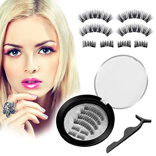 Upgraded Magnetic Eyelashes Natural Look, Missfeel No Glue Full Eye and Half Eye 2 Magnets Reusable False Eyelashes with Applicator (2 styles Lashes with -