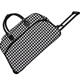 World Traveler 21 Inch Rolling Duffel Bag, Black Trim Houndstooth, One Size