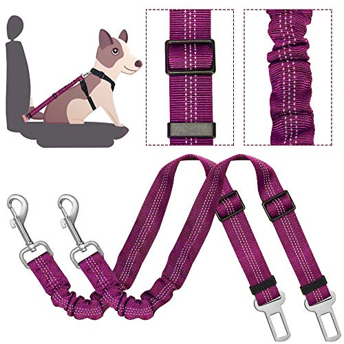 SlowTon Dog Seat Belt, 2 Pack Adjustable Pet Car Seatbelt Elastic Bungee Buffer Heavy Duty Reflective Nylon Safety Belt Connect to Dog Harness in Vehicle Travel Daily Use (Fuchsia)