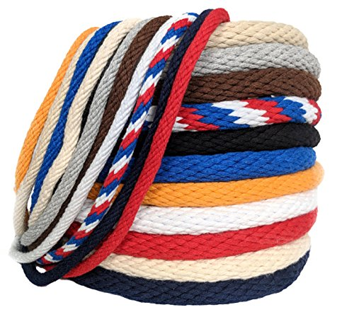 FMS Ravenox Solid Braid Cotton Rope | (Red, White & Blue)(1/4-in x 100 FT) | Used as Sash Cord, Clothesline, Macrame Projects, Utility Rope and More | Variety of Colors & Lengths | Made in the USA by FMS