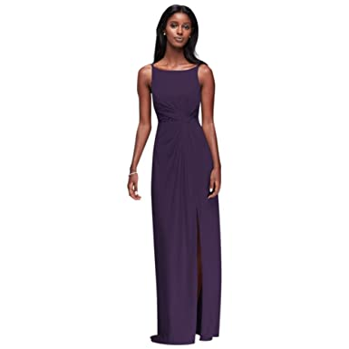 David\'s Bridal Double-Strap Mesh Bridesmaid Dress with Lace Insets ...