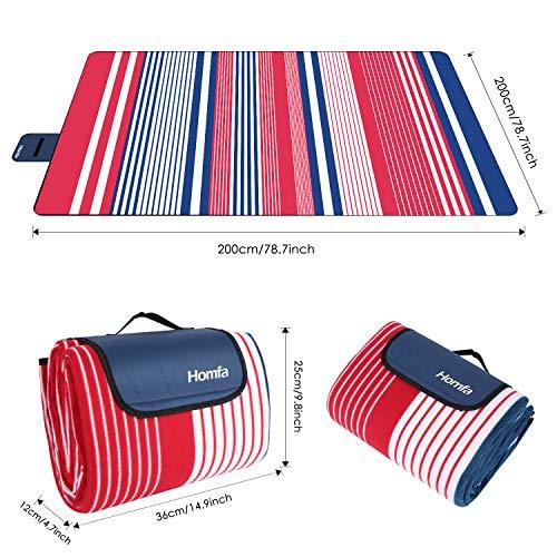 HOMFA Manta de Picnic impermeable Plegable Anti-calor para Camping Playa Alfombra para Suelo Playa Jardín Parque de Franela para 4-8 Personas 200 x ...