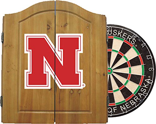 Imperial Officially Licensed NCAA Merchandise: Dart Cabinet Set with Steel Tip Bristle Dartboard, Nebraska ()