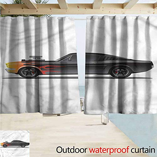MaryMunger Rod Pocket Top Blackout Curtains/Drapes Cars Retro Supercharger Vehicle Simple Stylish Waterproof W72x63L Inches
