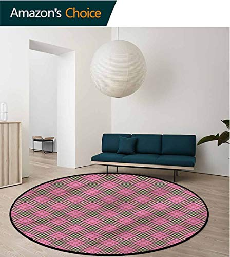 Contemporary Quilts Own - RUGSMAT Geometric Super Soft Circle Rugs for Girls,Diagonal Scottish Quilts Non-Slip No-Shedding Kitchen Soft Floor Mat Round-71