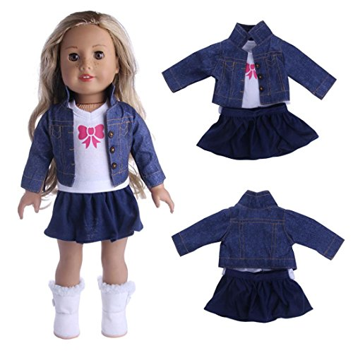 Doll Clothes for 18 Inch Dolls - Winter 3 Piece T-Shirt Jeans Shirt Pleated Dress for 18 inch American Girl Dolls Generation