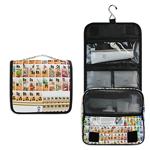 - Hanging Toiletry Bag Fun And Interesting Periodic Large Cosmetic Makeup Travel Organizer for Men & Women with Sturdy Hook