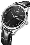 BUREI Men's Fashion Business Casual Watches with Day Date Display Black Leather Strap