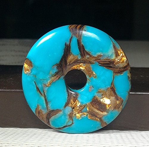 - 1.6'' Beautiful Gemstone Donut Pendant Bead 1Pcs,DIY Jewelry Accessories For Necklace 40mm (turquoise& Copper)