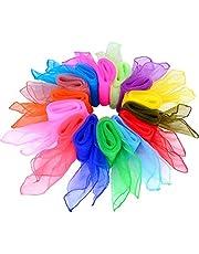 Dans Sjaal, Dans Sjaals 14 stuks Multicolor Vierkante Jongleren Sjaals voor Kleuterschool Kind Show Buikdans 14 kleuren 24 inch