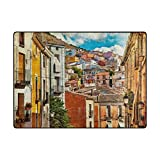 My Daily Colorful Spain Streets And Buildings Painting Area Rug 4'10'' x 6'8'', Living Room Bedroom Kitchen Decorative Unique Lightweight Printed Rugs