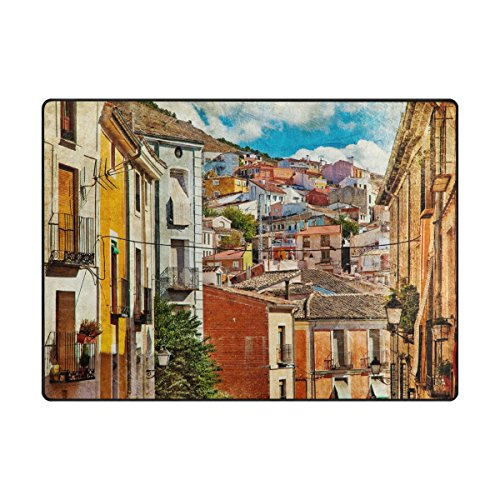 My Daily Colorful Spain Streets And Buildings Painting Area Rug 4'10'' x 6'8'', Living Room Bedroom Kitchen Decorative Unique Lightweight Printed Rugs by ALAZA