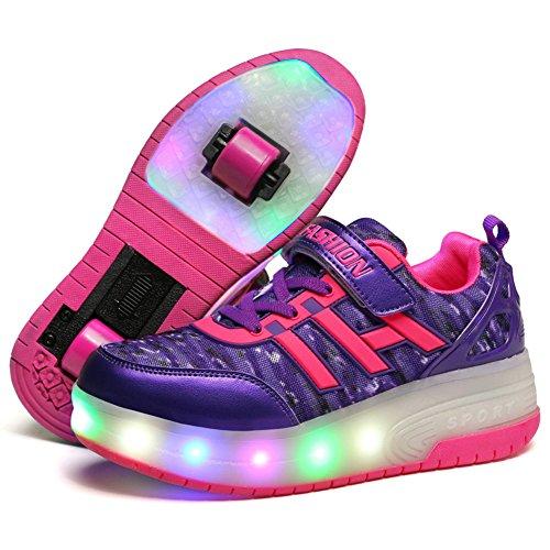 Zcoins Meisjes Jongens Led Light Roller Schoenen Met Wielen Skate Sneakers Voor Kinderen Vrouwen Paars Dubbele Wielen