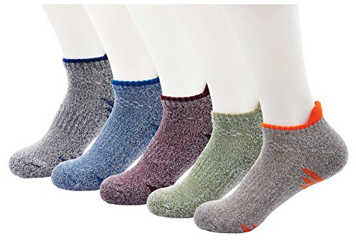 5 Pairs Mens Cushion Boot Hiking Socks Moisture Wicking Thick Cotton Athletic Socks for Hiking, Running, Cycling (Best Low Cut Hiking Shoes)