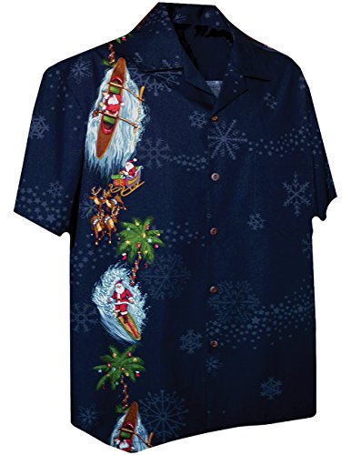 Surf Camp Shirt - Pacific Legend Sleigh Outrigger Surfboard Christmas Santa Snowflake Camp Shirt