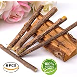 6 Pack Catnip Sticks,Cat Teeth Grinding Chew Toy Catnip Stick Natural Matatabi,Catnip Chew Sticks,Organic Silver Vine Bully Sticks,Molar Chew Toy for Pet Kitten