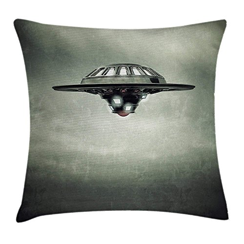 (Wbsdfken Outer Space Decor Throw Pillow Cushion Cover, Disc Shaped Saucer Craft Vessel in Air on Grungy Background Sky Fiction Decor, Decorative Square Accent Pillow Case 18X18 Inch Grey)