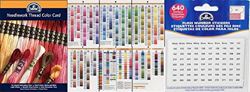 Color Embroidery Chart - DMC Color Card and Floss Stickers Bundle