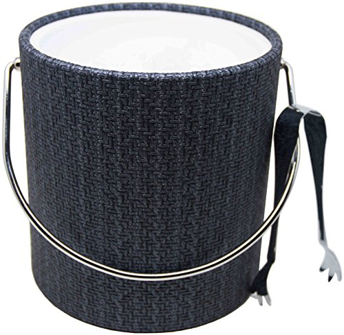 (Hand Made In USA Blue Metallic Double Walled 3-Quart Wicker Insulated Ice Bucket With Bonus Ice)