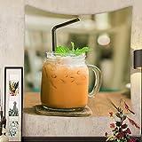 Keshia Dwete Custom tapestry milk thai tea in glass mugs on wood table