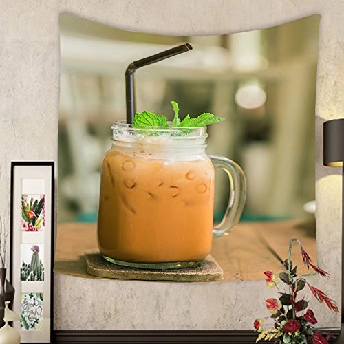 Keshia Dwete Custom tapestry milk thai tea in glass mugs on wood table by Keshia Dwete