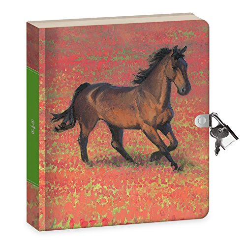 """Peaceable Kingdom Wild Horse 6.25"""" Lock and Key, Lined Page"""